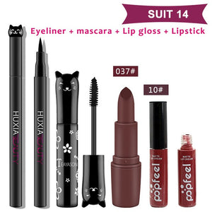 4Pcs/set Ladies Makeup Set Eyeliner Mascara Lip Gloss Lipstick Women Makeup Sets Beauty Cosmetics