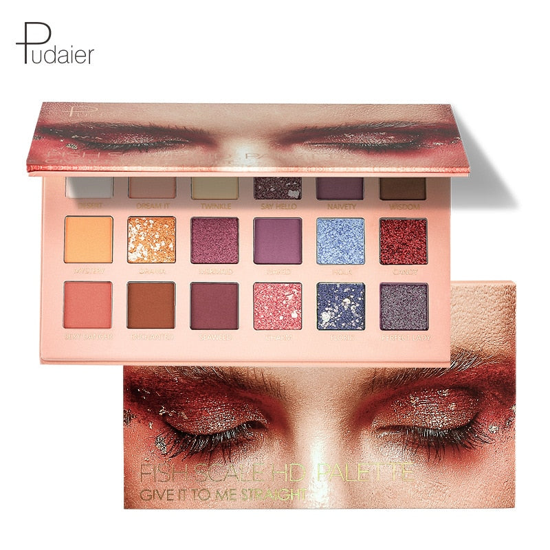 Pudaier Fish Scale Eye Shadow Plate 18 Color Eye Shadow Plate Desert Rose Net Red Pop Son Wholesale Cross-border Makeup Ins