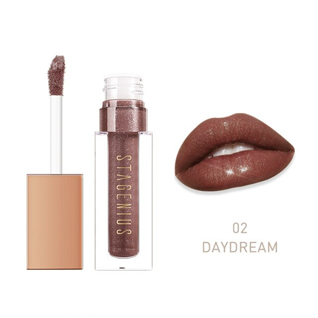 STAGENIUS Lipgloss Glitter Lipstick Waterproof Cosmetic red lip gloss Long-lasting Lip tint Makeup Lips