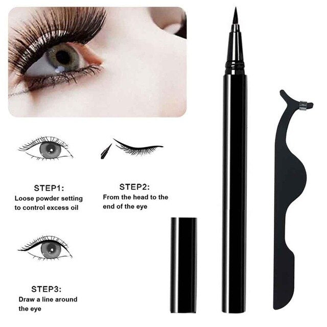 3 pairs 3in1 Fast Drying Self Adhesive Daily Fashion Eye Makeup Waterproof Portable With Eyeliner Curling False Eyelashes Set
