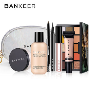 BANXEER Full Makeup Set Foundation+Loose powder+Eyebrow+Eyeliner+Lipgloss+Highlighter+Eyeshadow+Makeup Bag Cosmetic Kit