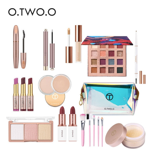 O.TWO.O Makeup Kit Full Professional 16 pcs Makeup Set With Makeup Bag Lipstick Concealer Eyeliner  Eyeshadow Brush Makeup Woman