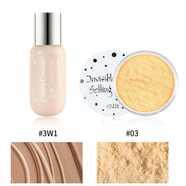KIMUSE 2PCS Makeup Set 24H Pro-Matte Liquid Foundation Full Cover Face Corrector + Invisible Setting Finish Smooth Loose Powder