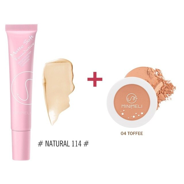 MINIMELI Matte Foundation + Oil-control Pressed Powder Makeup Sets Long-lasting Waterproof Make Up Cheek Face Base Cosmetics