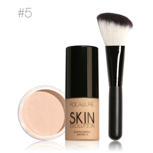 Focallure Base Makeup Set with Liquid Foundation Loose Powder Blush Brush easy makeup for new hand makeup kit