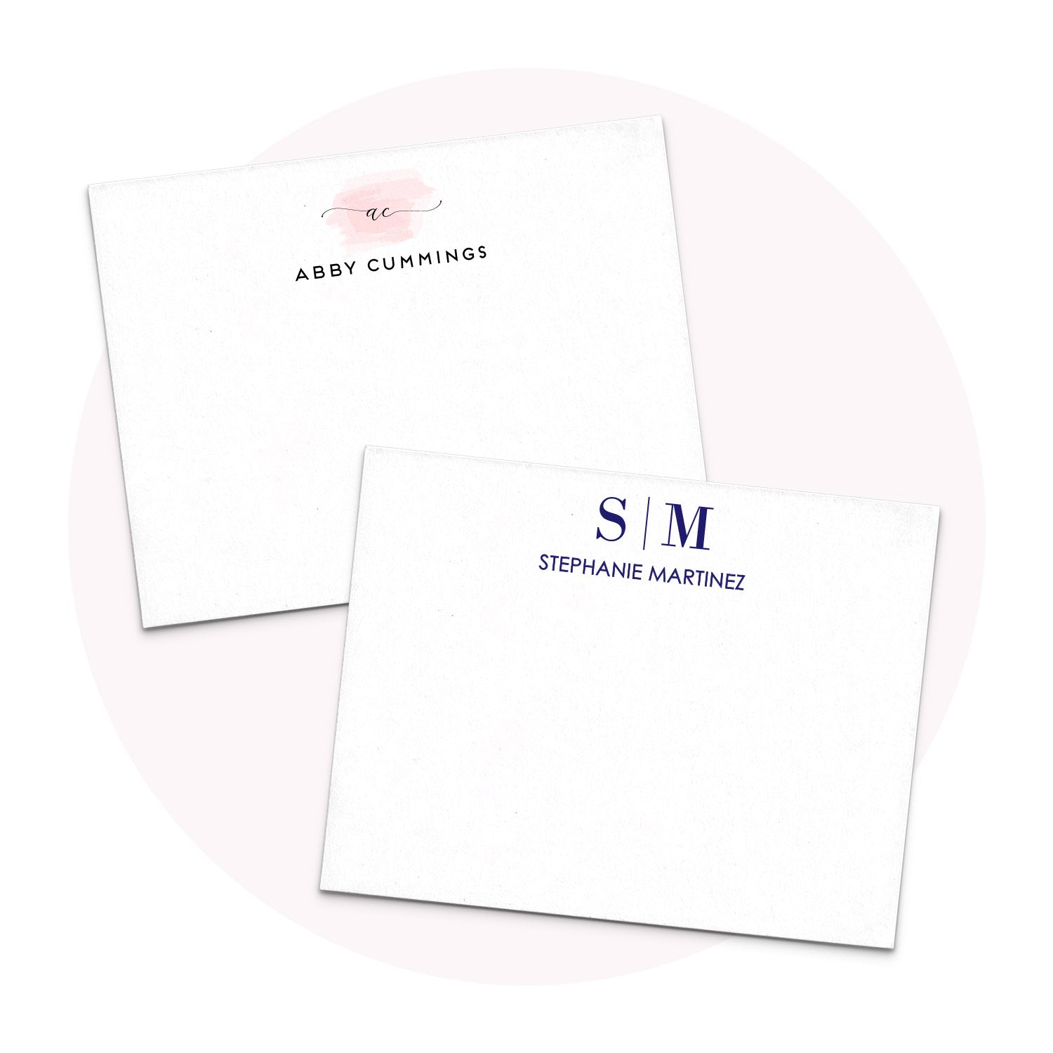 Monogram Stationery note cards for men and women