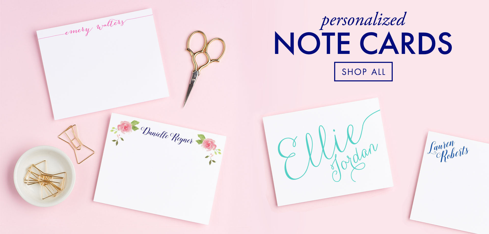 Personalized Note Cards, Shop all styles on Modern Pink Paper
