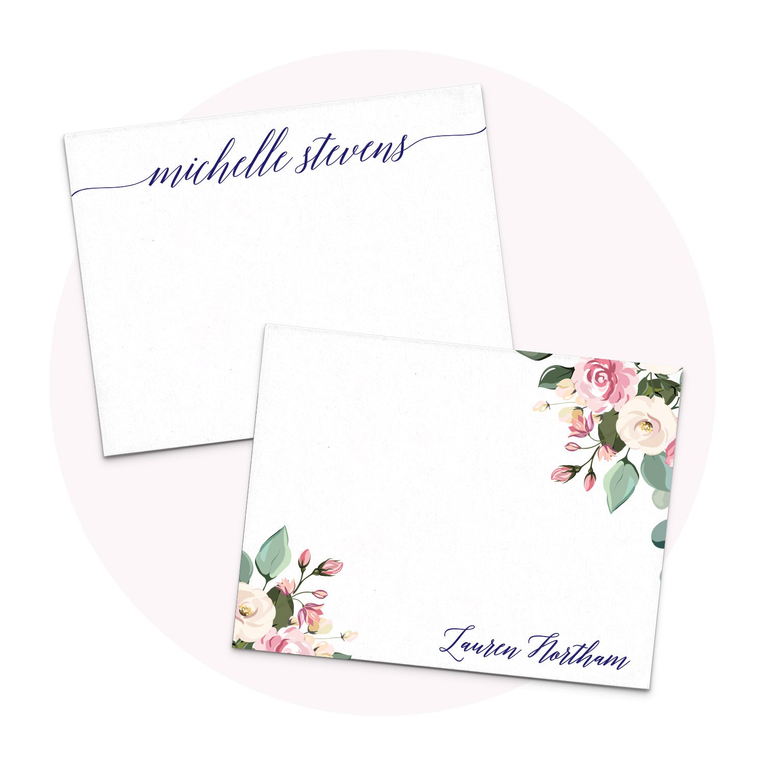 Personalized Stationery note cards for women