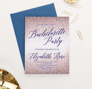 BACI009 rose gold elegant bachelorette party invitations glitter sparkle 1