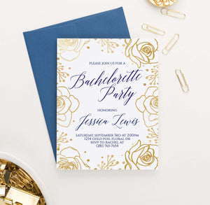 BACI010P personalized bachelorette party invite with gold roses border elegant navy floral 1