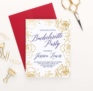 BACI010P personalized bachelorette party invite with gold roses border elegant navy floral 2