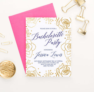 BACI010P personalized bachelorette party invite with gold roses border elegant navy floral