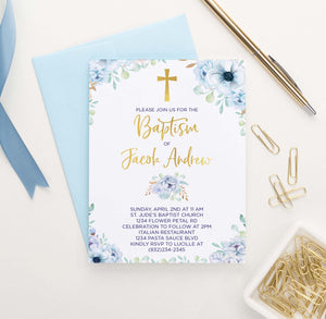 BAP1014 personalized blue floral baptism invites for boys girls boho