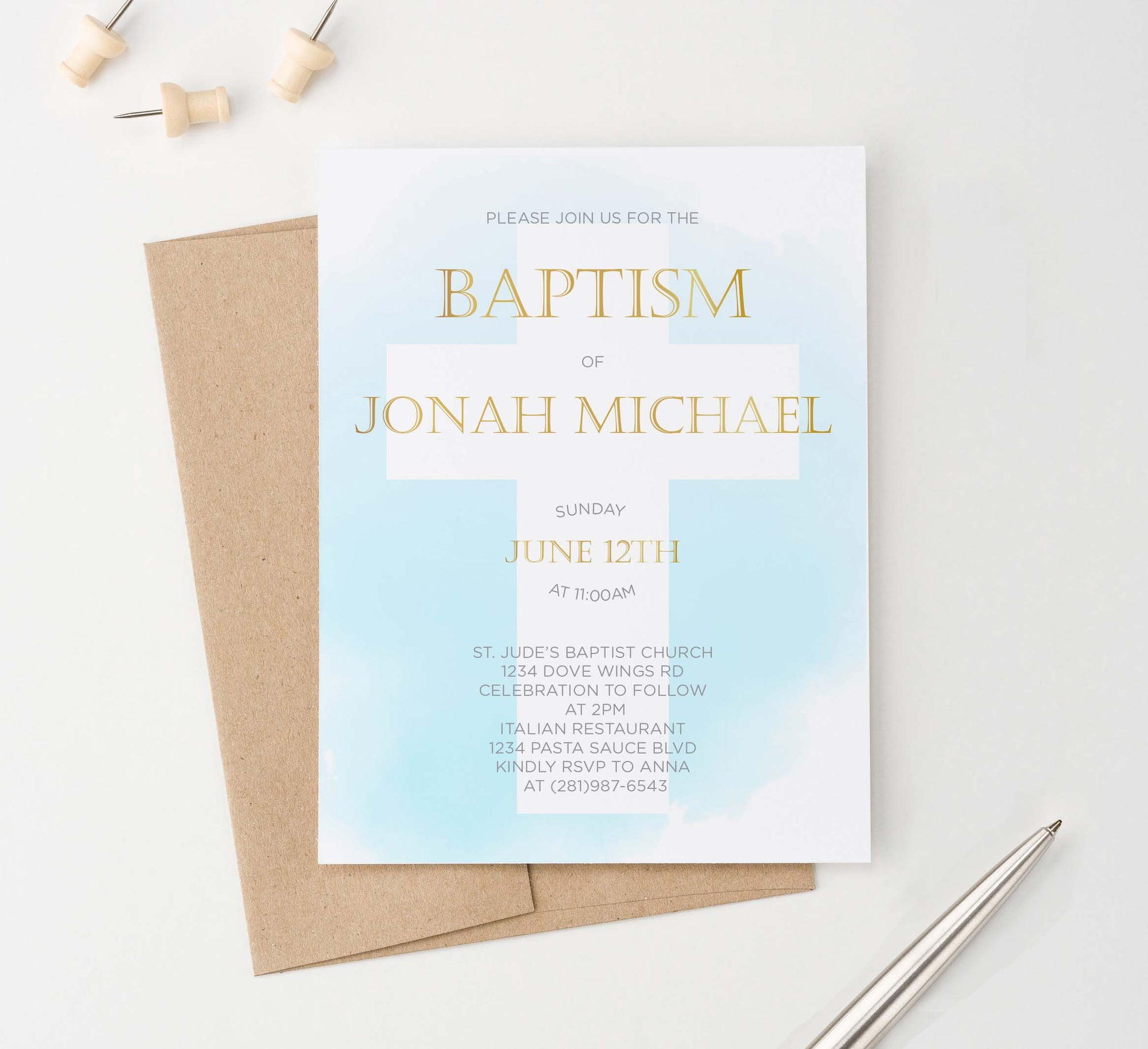 BAP1034 blue watercolor cross baptism invites for boys gold