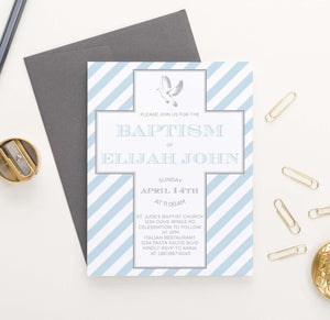 BAP1044 baby blue striped baptism invite with cross boy 1