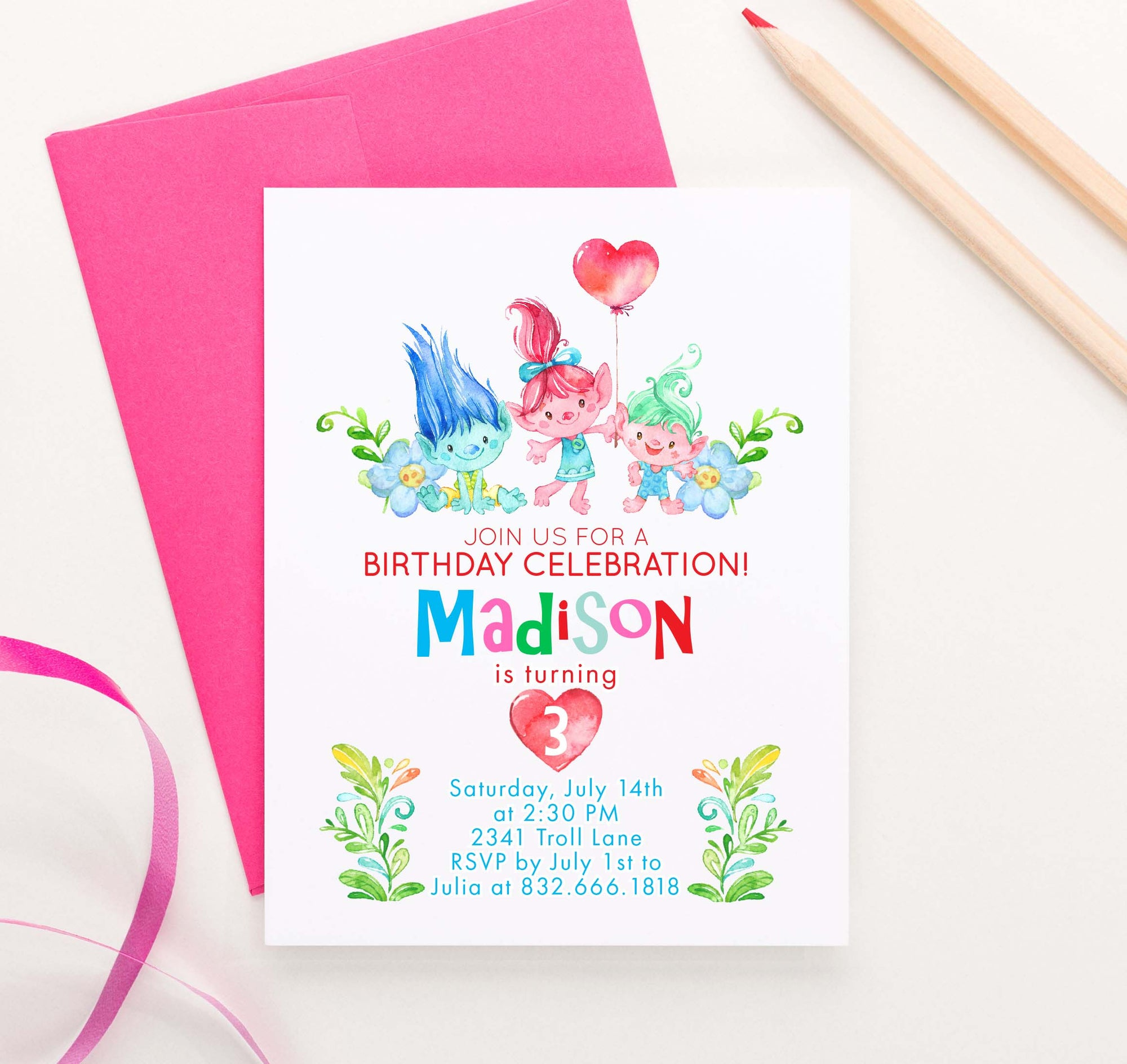 Trolls Birthday Party Invites Personalized