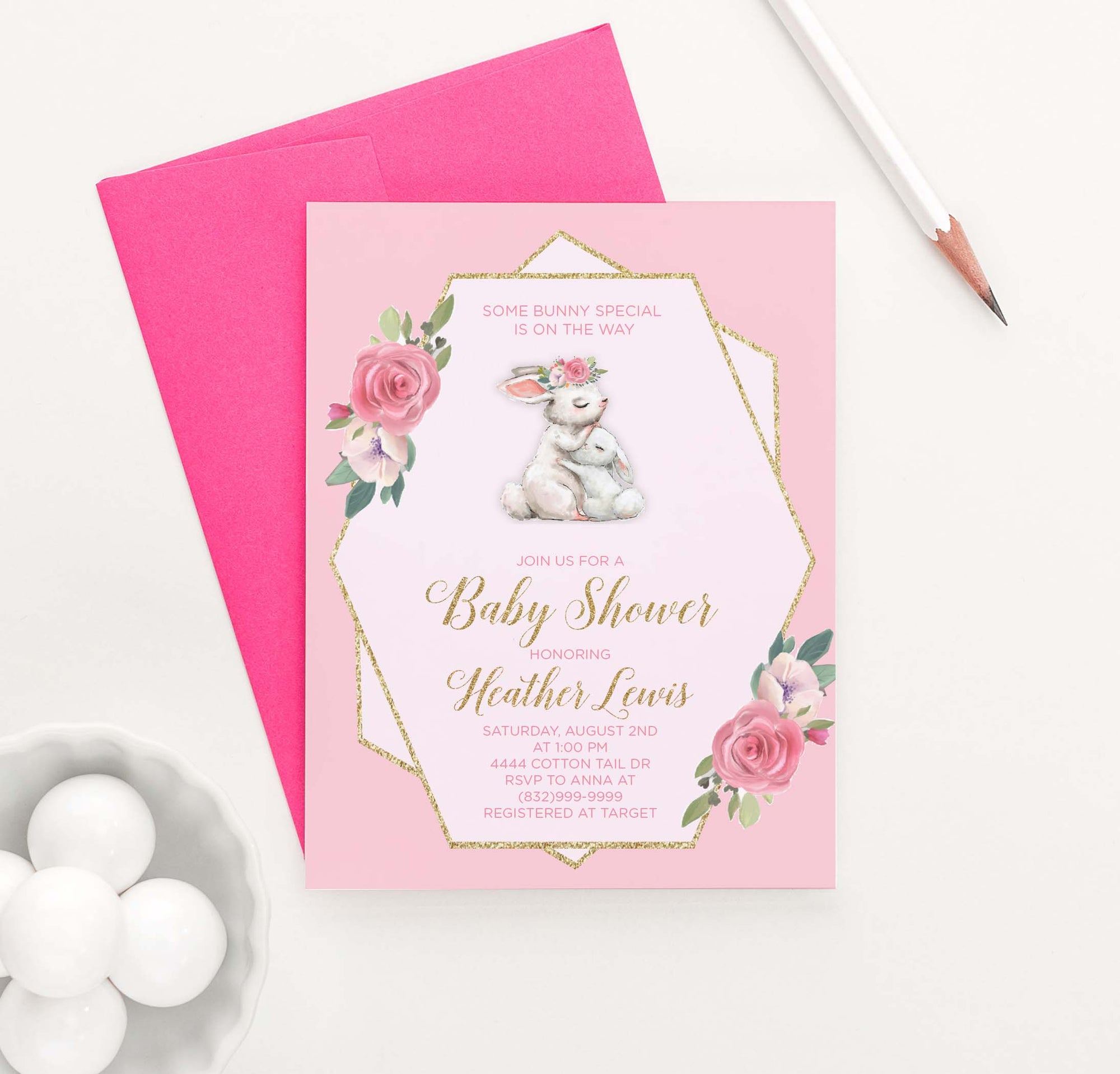 BI030 elegant bunny baby shower invitation personalzed floral rabbit gold glitter 1