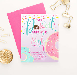 BI033 donut birthday party invitations personalized cute sprinkles 1