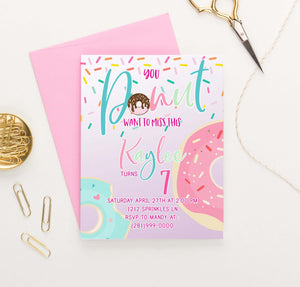 BI033 donut birthday party invitations personalized cute sprinkles