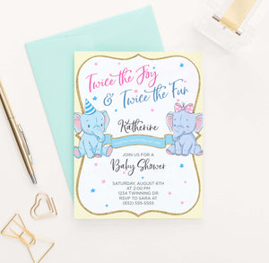 BI033 elephant baby shower invitation for twins pink yellow 1