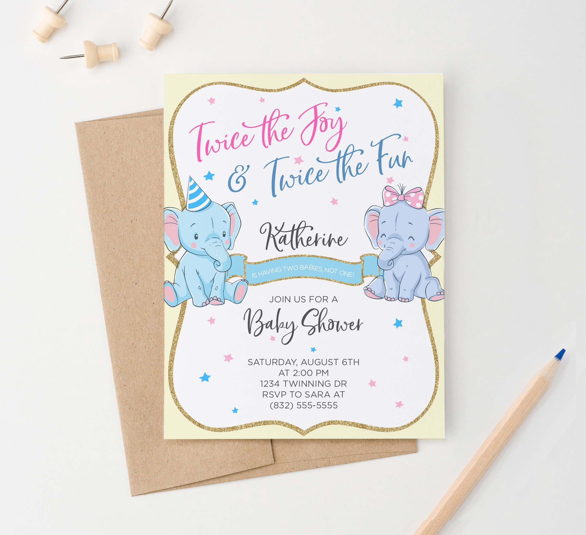 BI033 elephant baby shower invitation for twins pink yellow