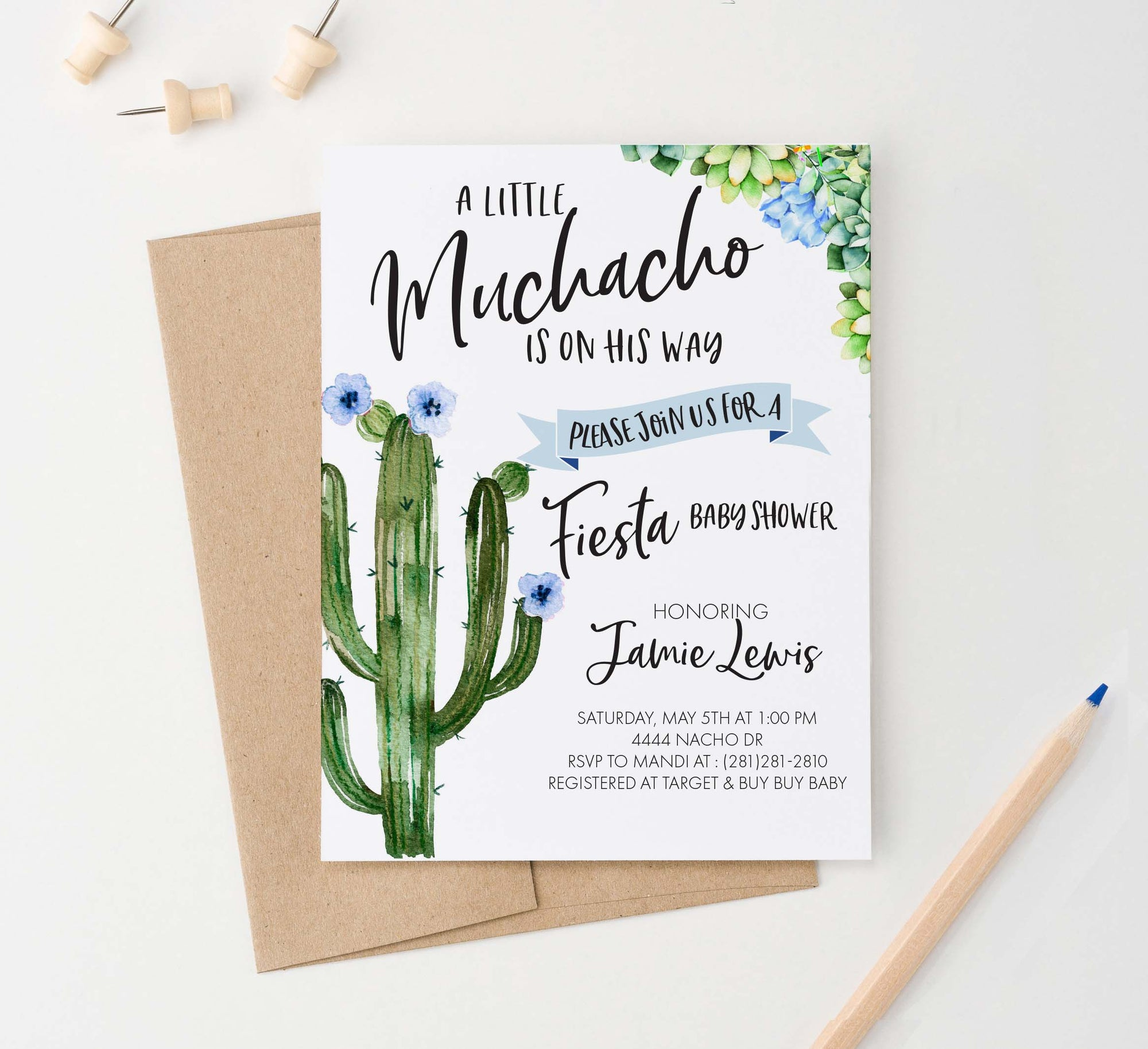BI034 cactus fiesta baby shower invitation for boy elegant succulents