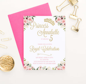 Personalized Princess Birthday Party Invites with Floral Corners