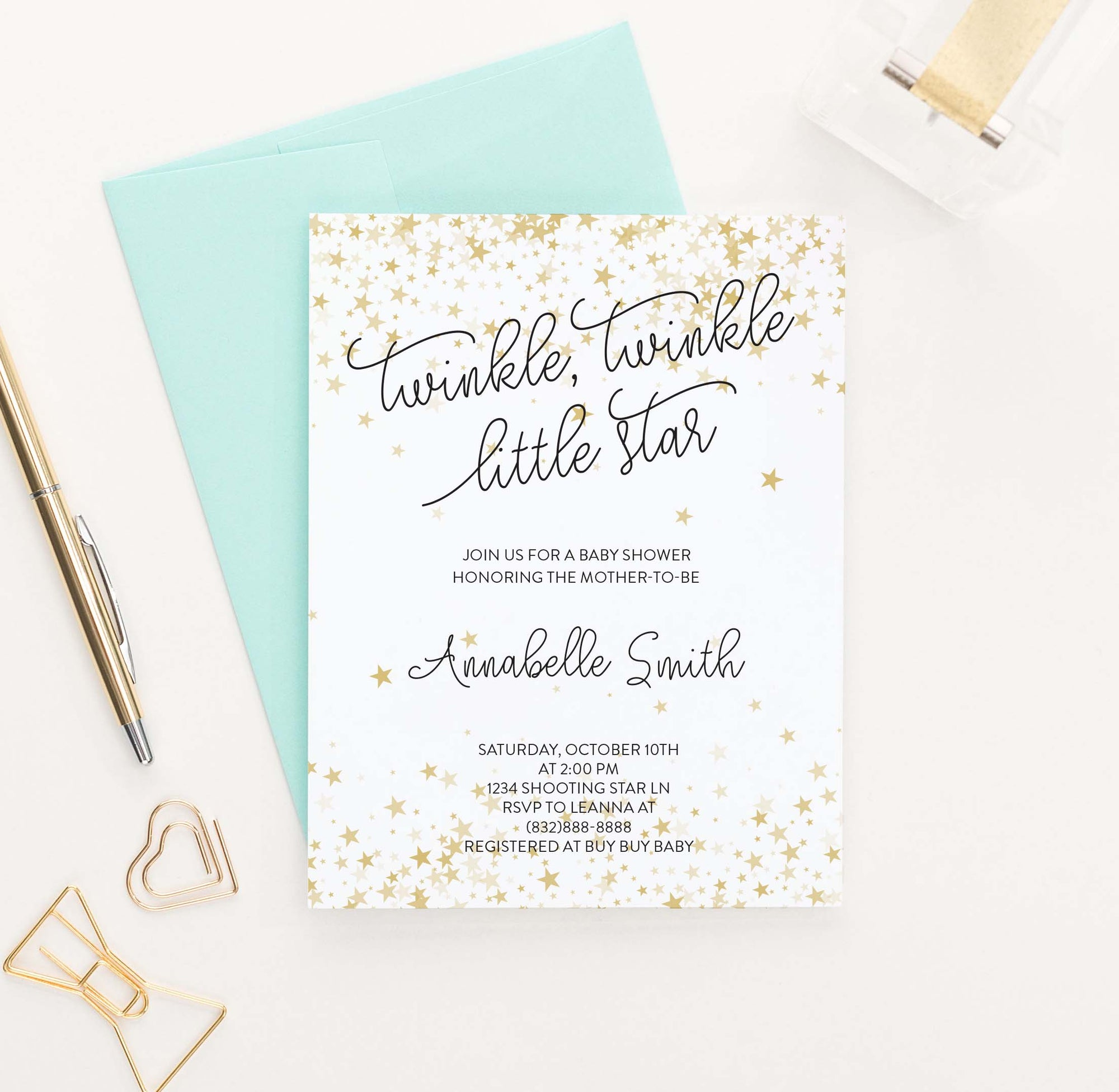 BI039 gold stars baby shower invitation personalized elegant star twinkle