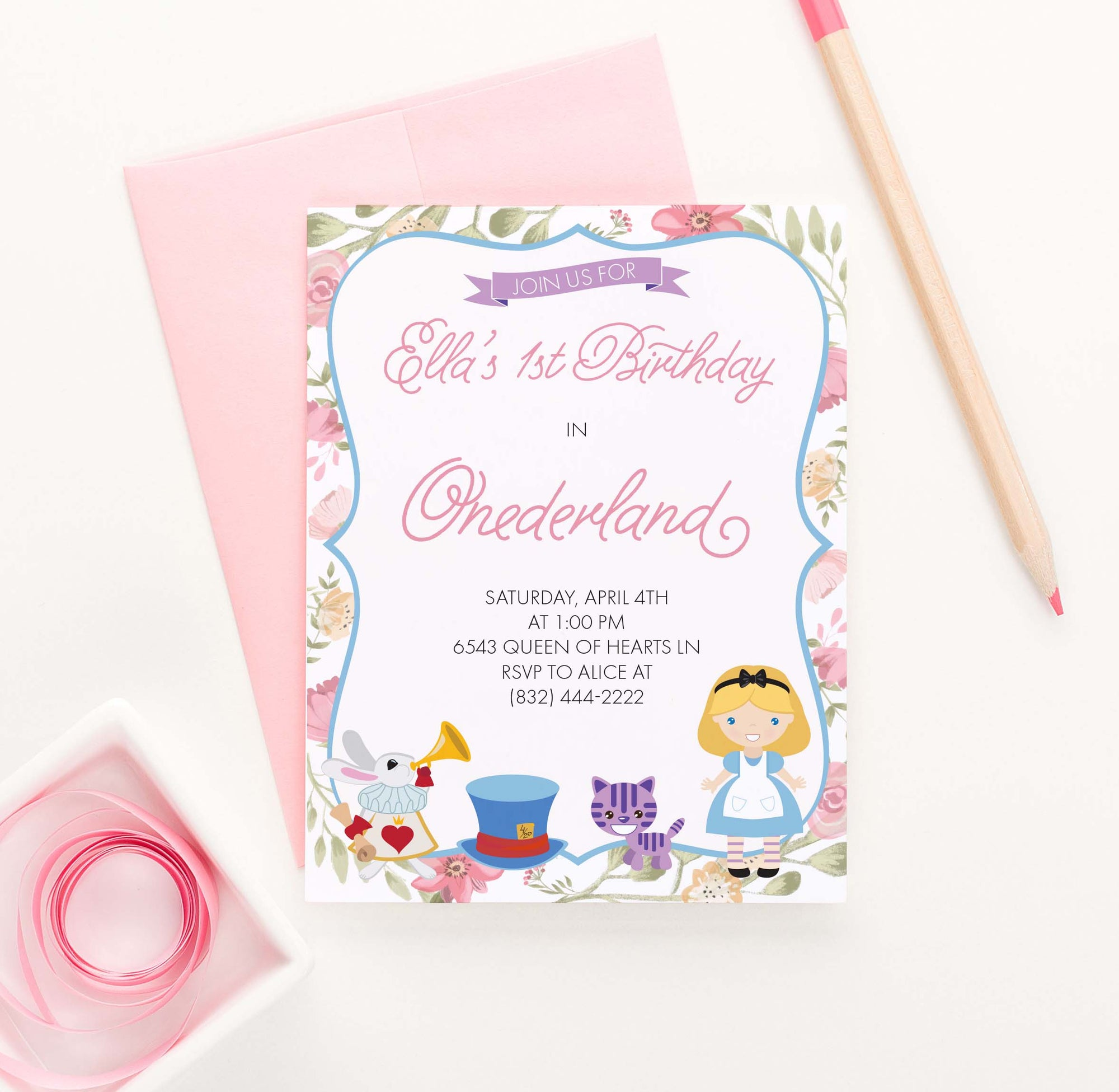 BI043 onederland birthday party invites for girls alice cat tophat