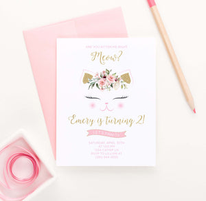 Cute Cat Birthday Party Invites with Florals
