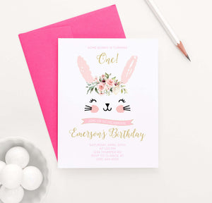 BI048 cute bunny birthday party invites personalized rabbit florals animal 1