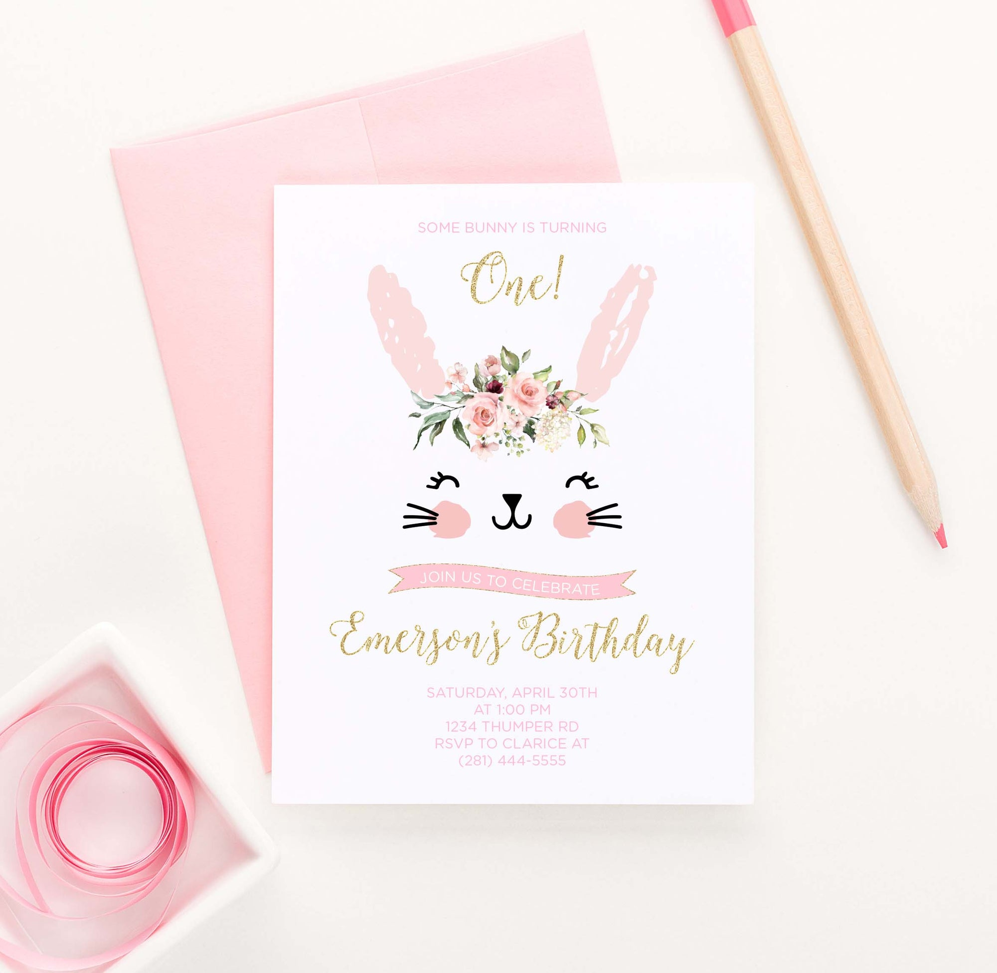 BI048 cute bunny birthday party invites personalized rabbit florals animal