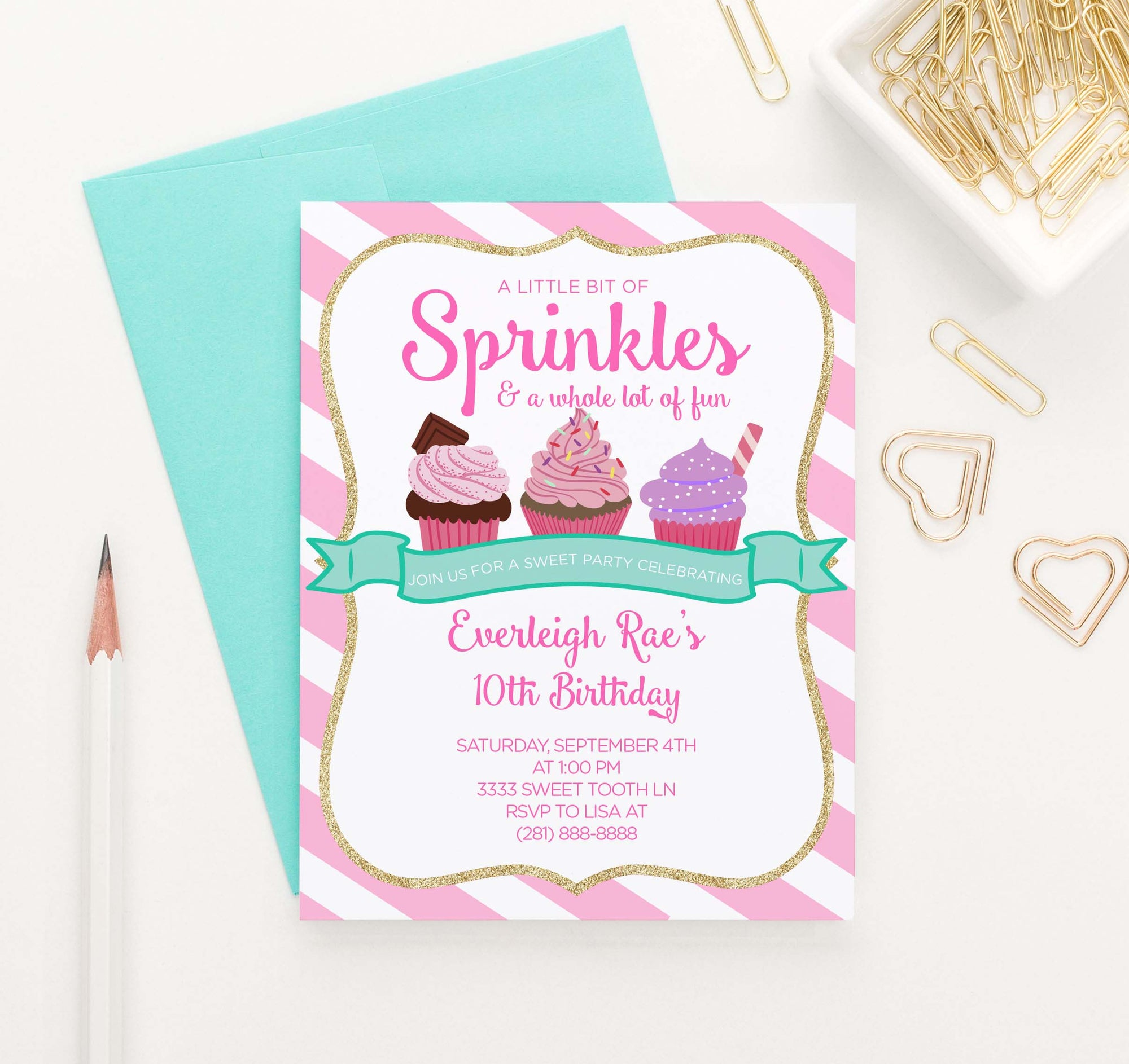 BI049 personalized cupcake birthday party invitations for girl sweet cake sprinkles