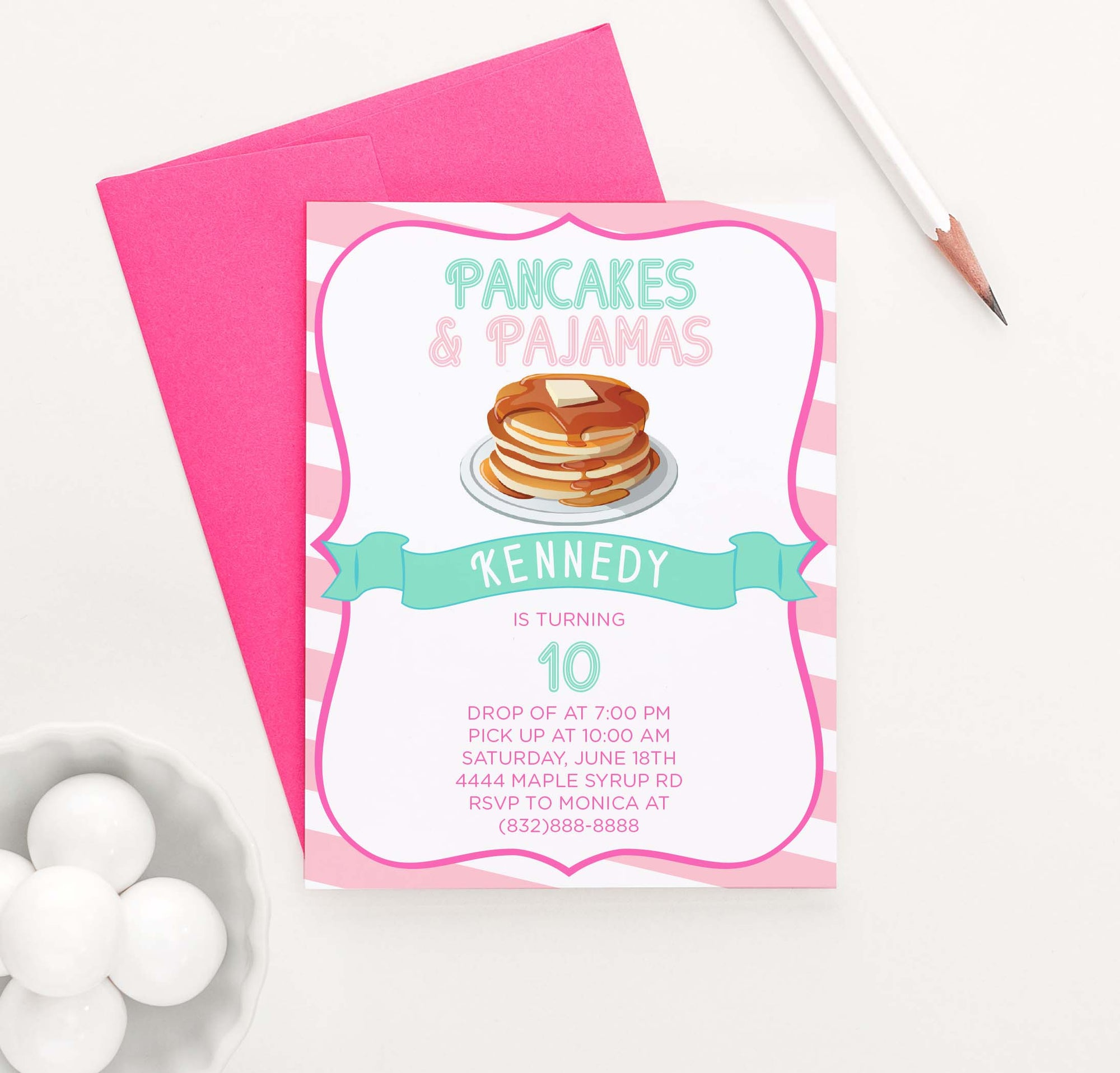 BI055 pancakes and pajames birthday party invitation for girls fun pink stripes 1