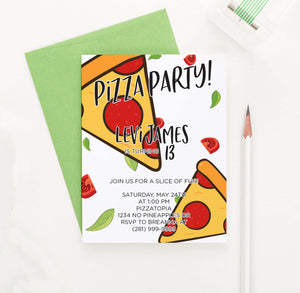 BI057 pizza birthday party invites personalized food pepperoni-1