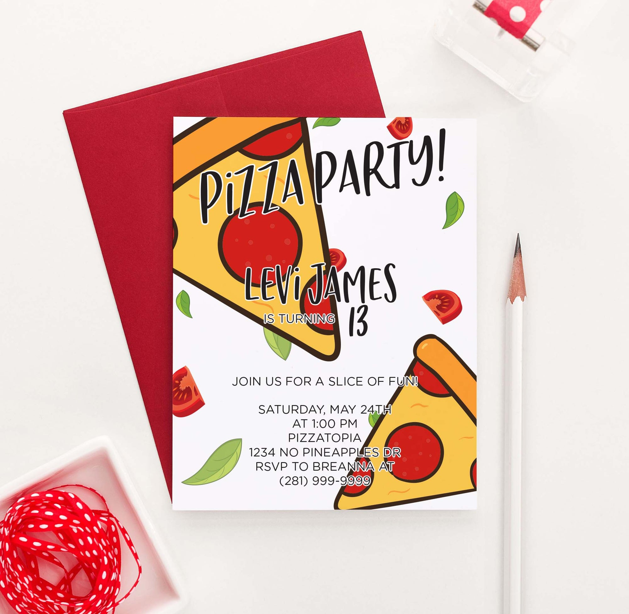 BI057 pizza birthday party invites personalized food pepperoni