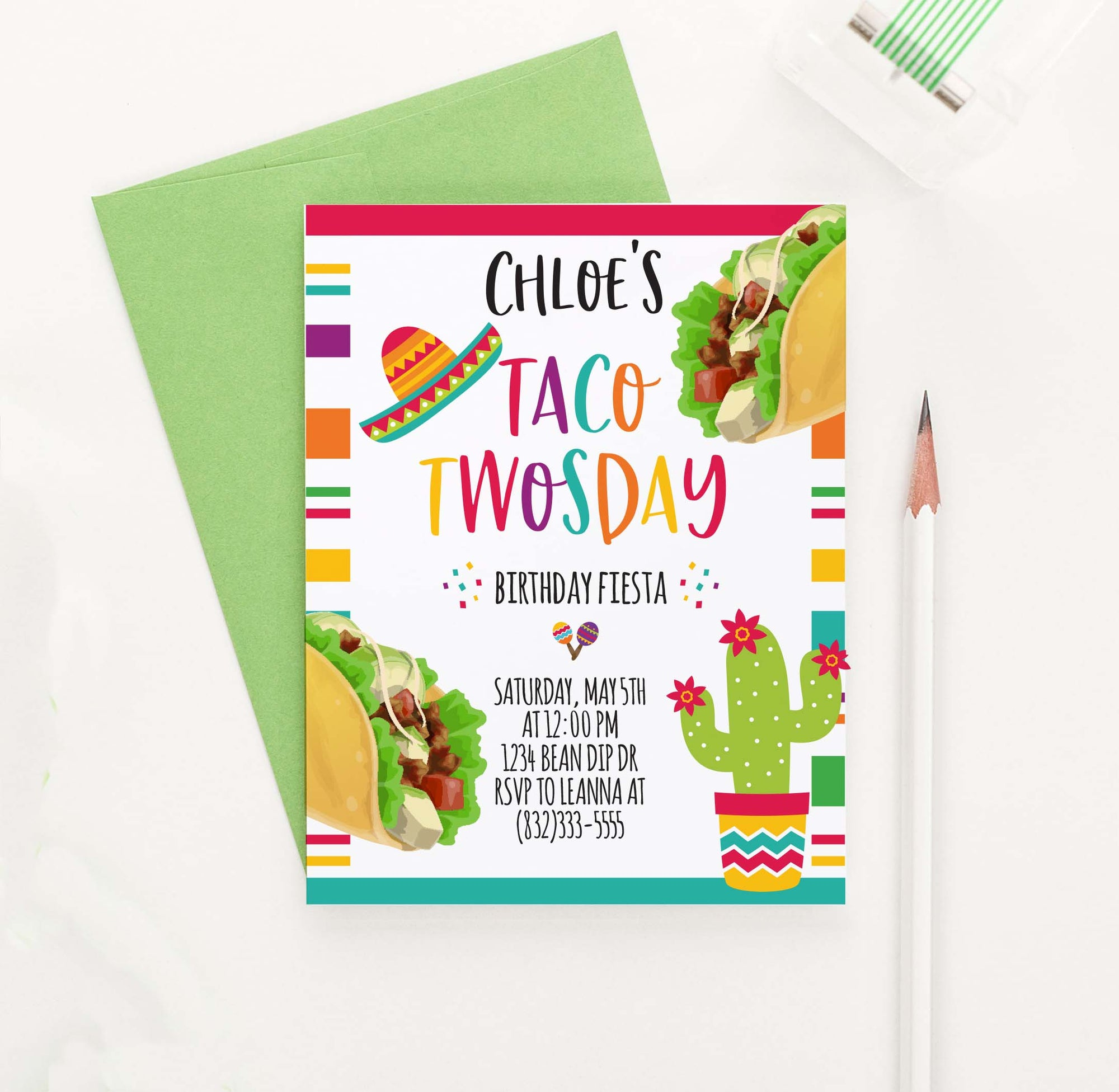 BI064 taco tuesday fiesta birthday party invites personalized cactus tacos festive
