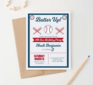 BI066 baseball birthday party invites personalized batter up sports 1
