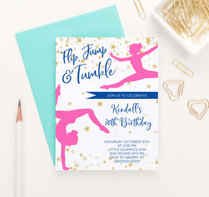 BI076 girls gymnastics birthday party invitations personalized gold stars dance