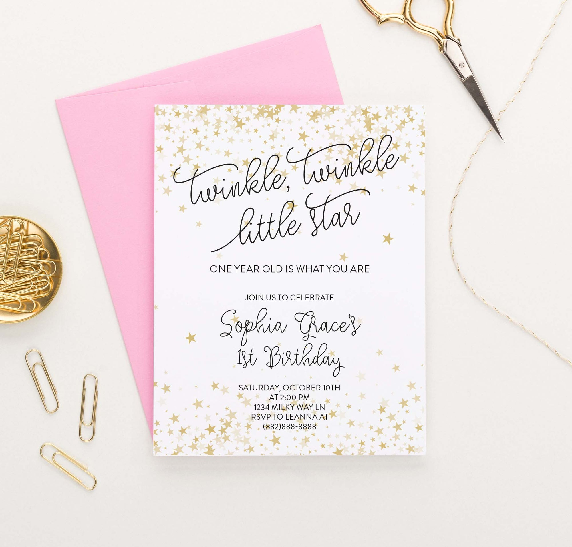 BI082 Twinkle Twinkle Birthday Party Invites with Gold stars little star