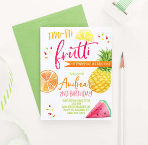 BI083 two-tii frutti birthday party invites with fruit pineapple watermelon orange 1