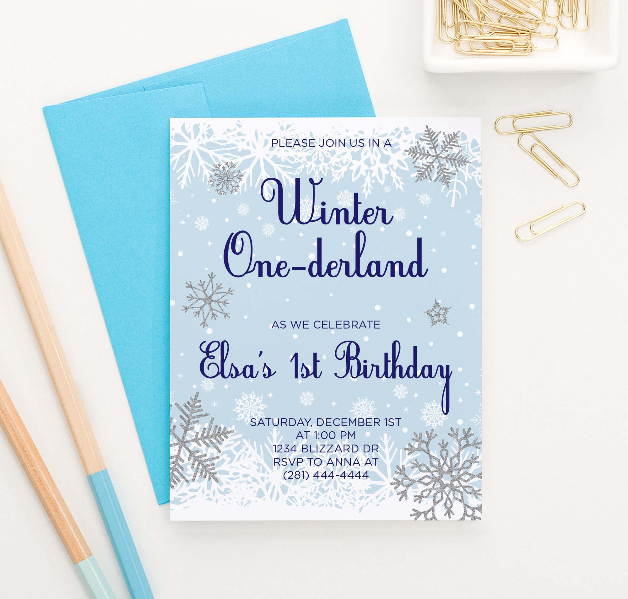 BI084 winter onederland birthday party invitation for kids snowflakes snow blue