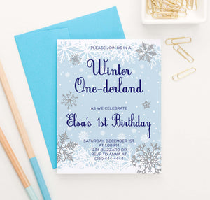 BI084 winter onederland birthday party invitation for kids snowflakes snow blue 1