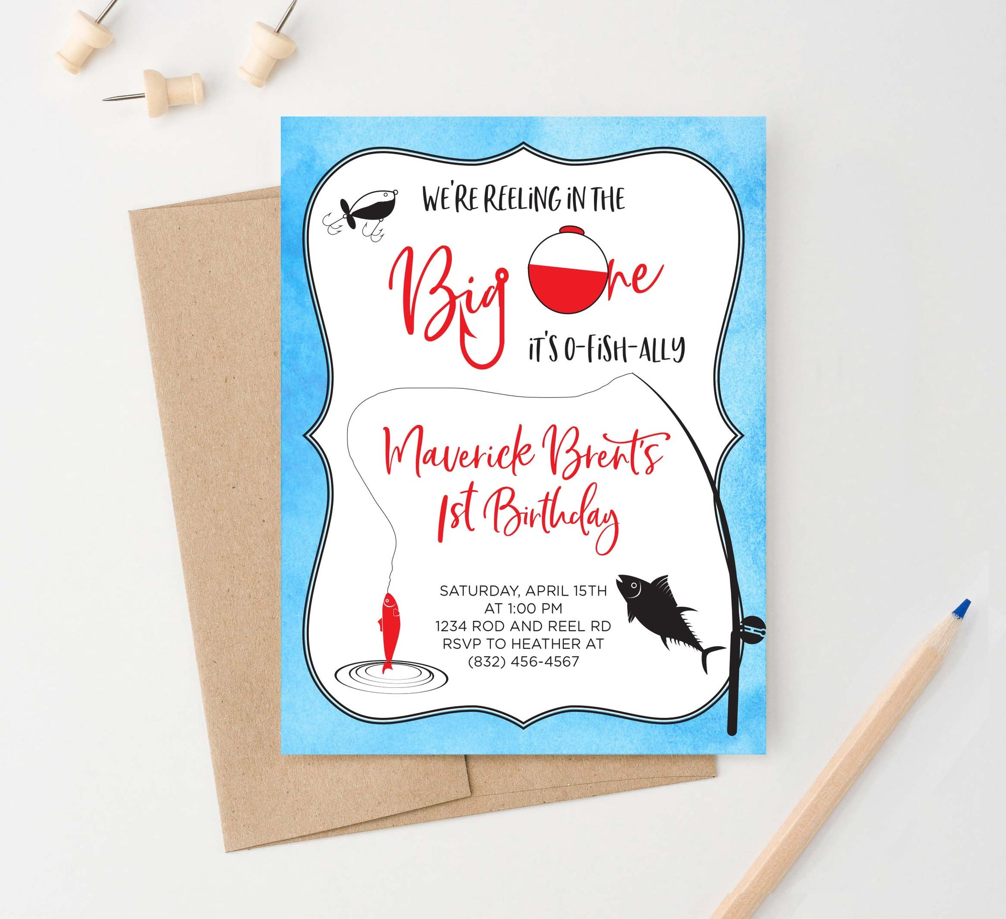 BI093 fishing birthday party invites personalized fish big one 1