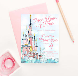 BI107 once upon a time birthday party invites with princess castle fairytale magical 1