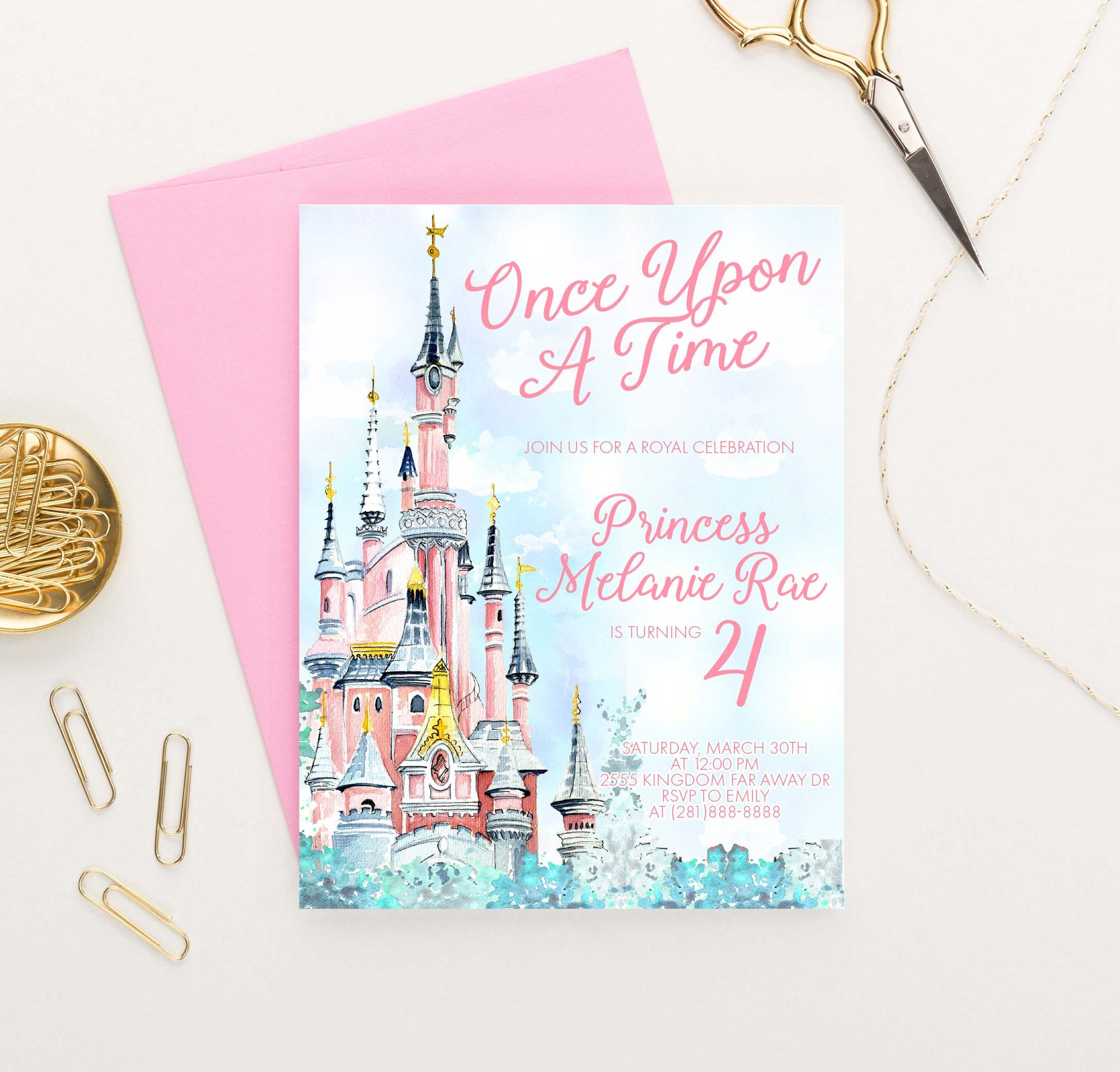 BI107 once upon a time birthday party invites with princess castle fairytale magical