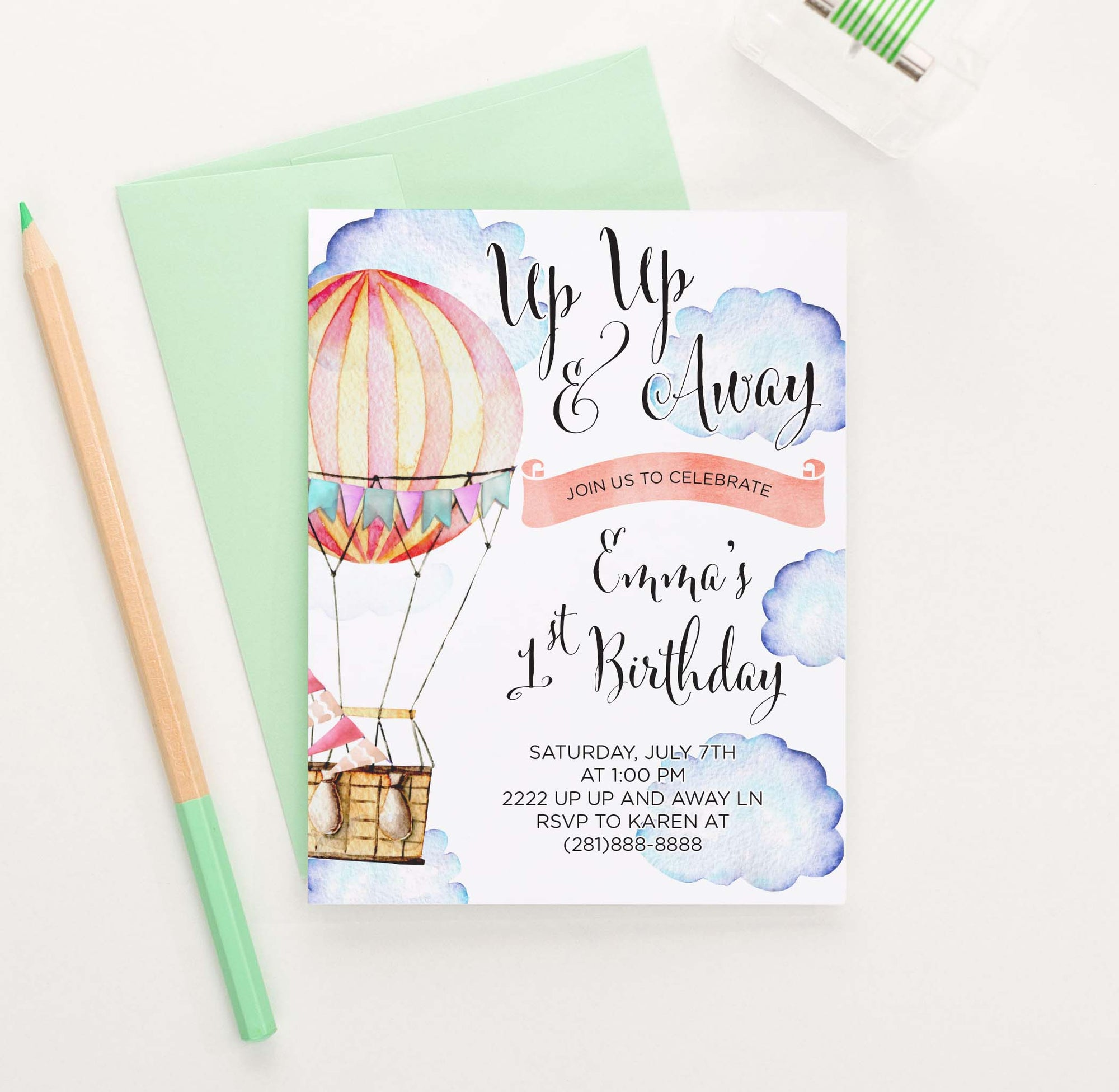 BI108 up up and away birthday party invites with hot air balloon adventure 1