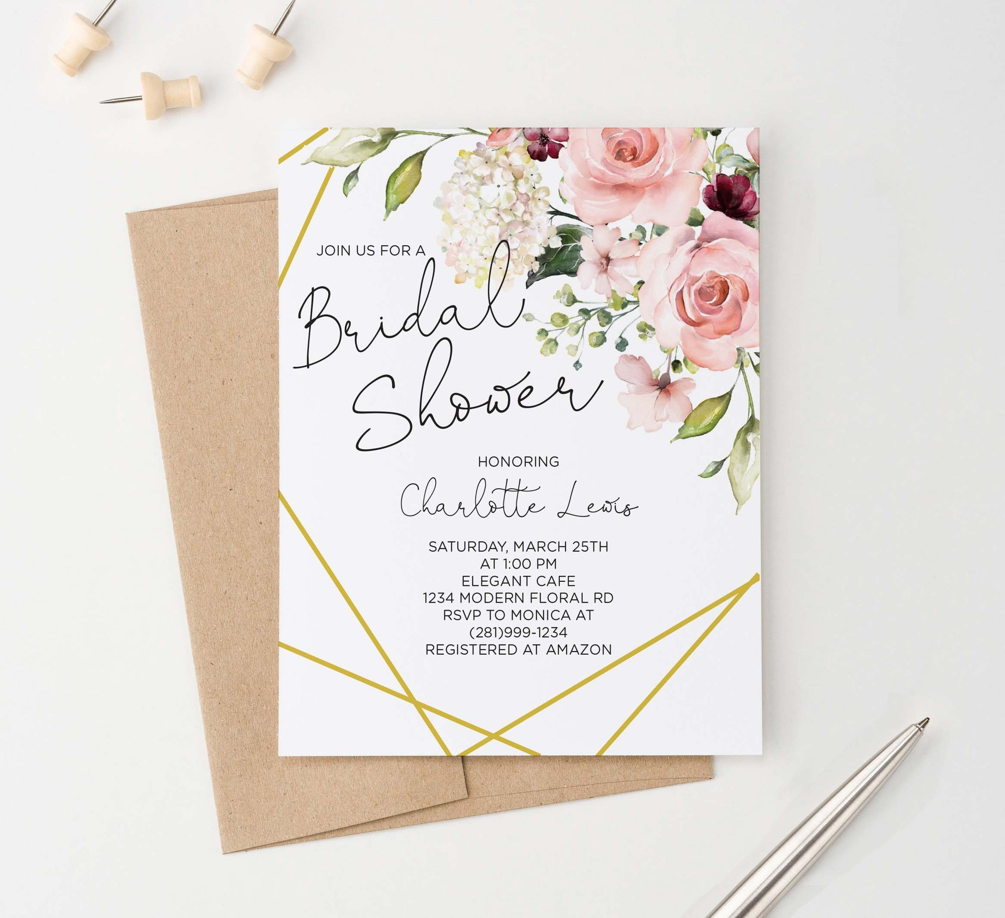 BRSI018 elegant floral corner bridal shower invites personalized gold geometric lines