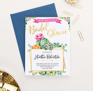 BRSI027 elegant cactus bridal shower invites personalized succulents gold fiesta 1