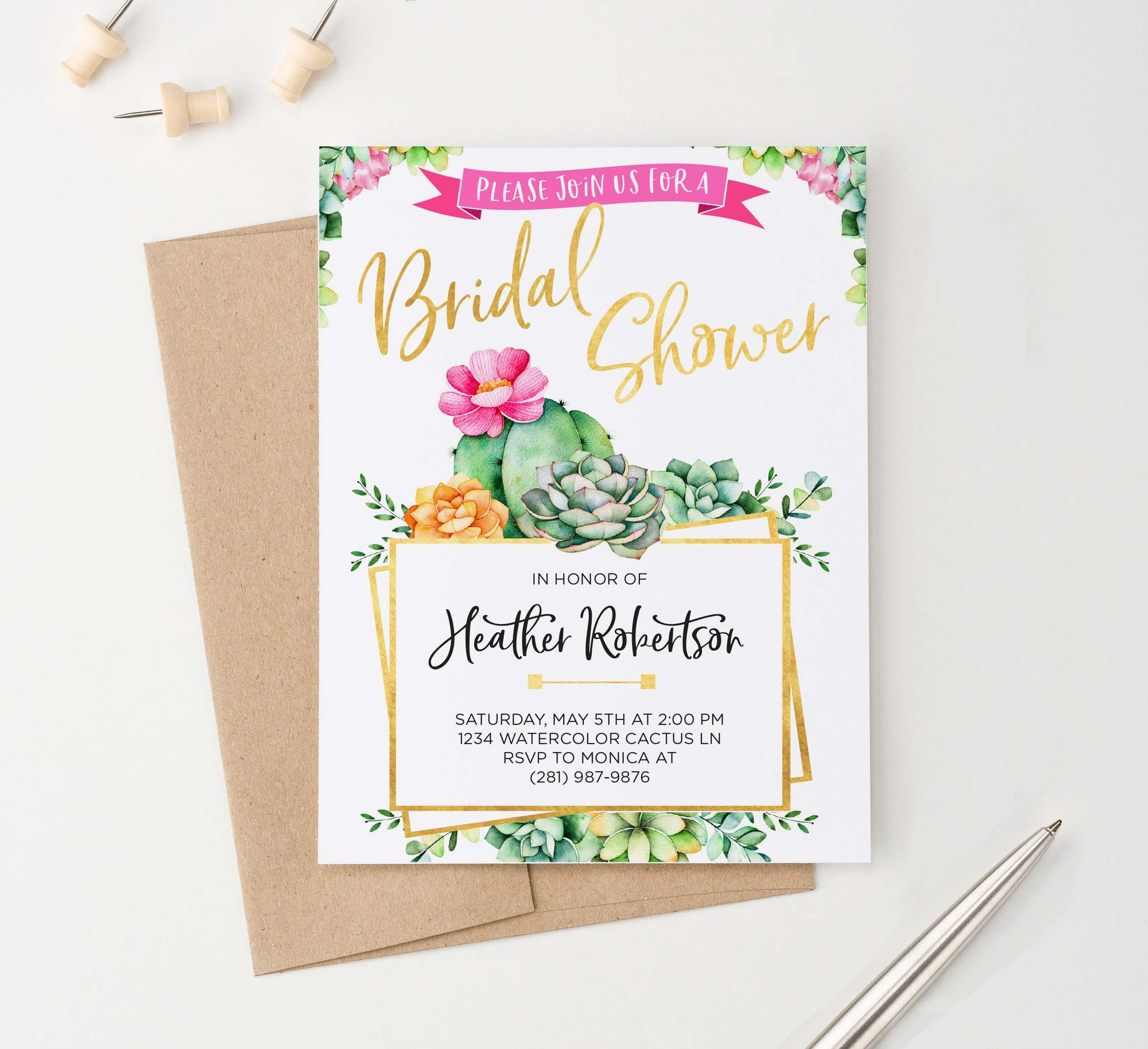 BRSI027 elegant cactus bridal shower invites personalized succulents gold fiesta